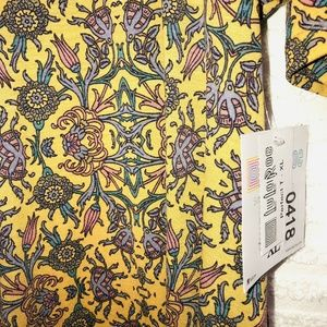 LuLaRoe Tops - LulaRoe Perfect T Yellow Pink Botanical Shirt